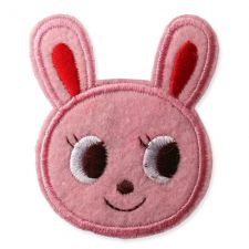 PINK RABBIT HEAD MOTIF IRON ON EMBROIDERED PATCH APPLIQUE